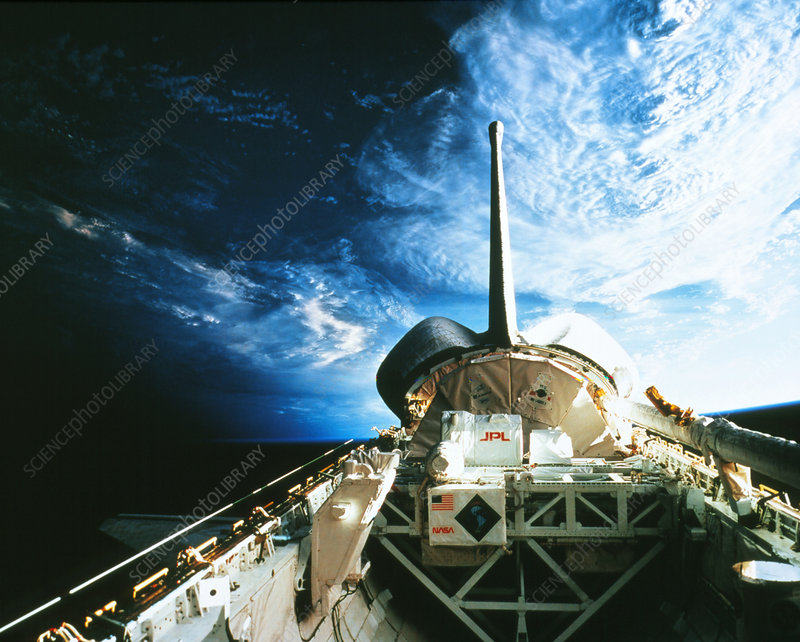 The cargo bay of Shuttle Columbia, mission STS-52