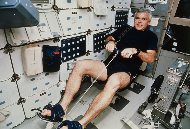 Astronaut Clifford using rowing machine, STS-59