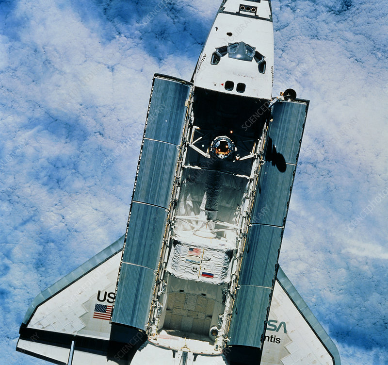 Shuttle Atlantis as seen from Mir space station
