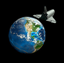 Space shuttle and Earth