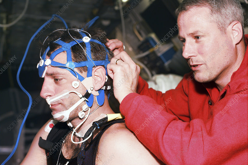 Astronaut wearing a sleep cap