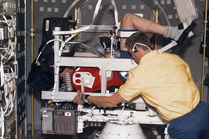 Astronaut in Neurolab off-axis rotator