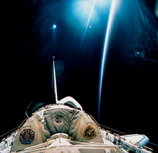 Spacelab SLS-1 view with light reflections