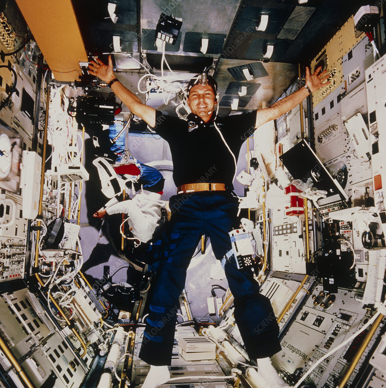 Hans Schlegel in Spacelab D2 module, STS-55