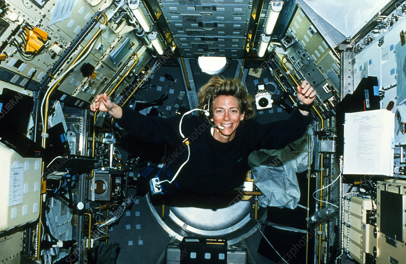 Astronaut floats inside the shuttle's spacelab