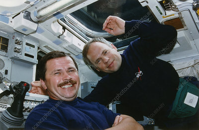 Cosmonauts Solovyev and Budarin on Space Shuttle