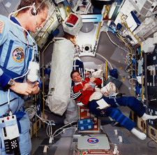 Astronauts Dunbar and Thagard inside Spacelab