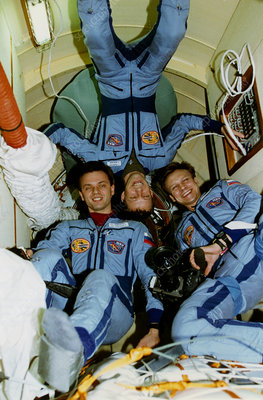 Mir space station crew in shuttle docking module