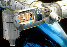 Cut-away artwork of the Columbus Orbital Facility