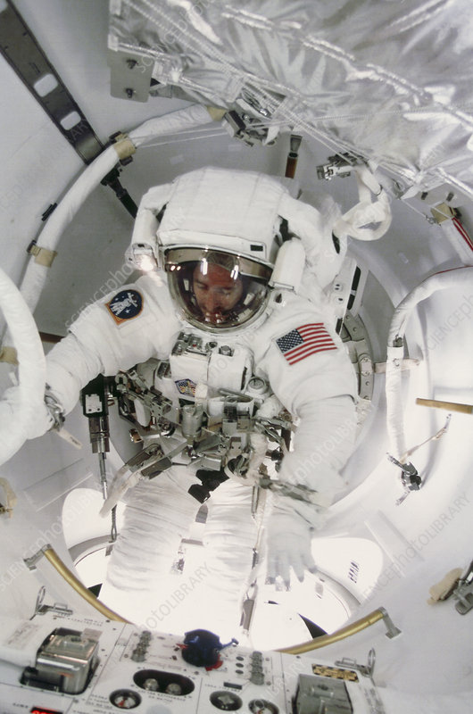 Astronaut in ISS airlock