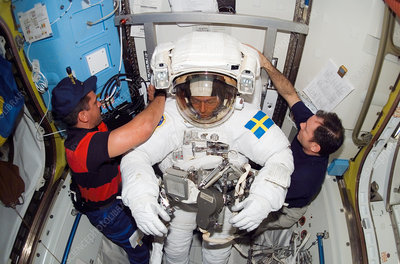 Astronaut Fuglesang after spacewalk