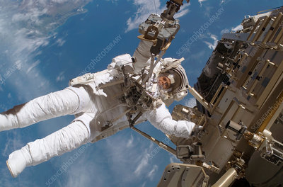 Astronaut Fuglesang performing spacewalk