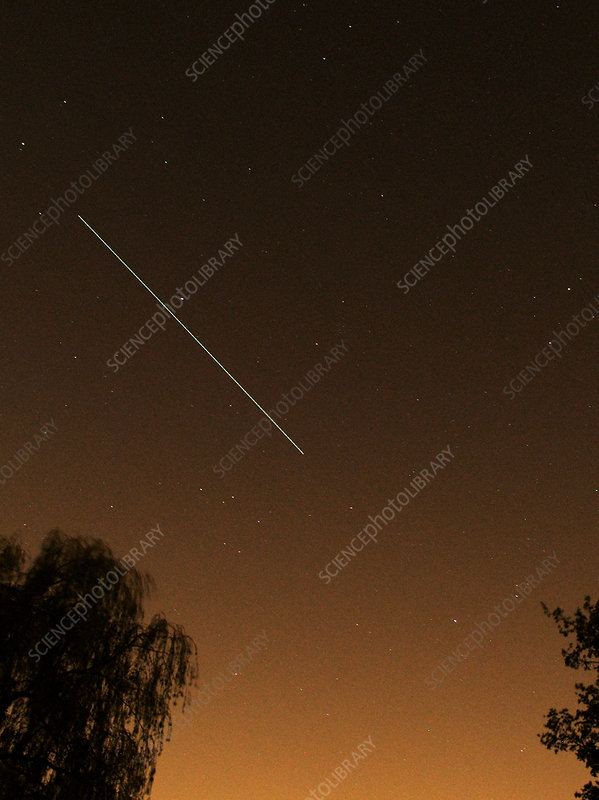 ISS light trail, time-exposure image