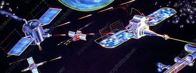 Artwork of Star Wars (SDI) satellites in action
