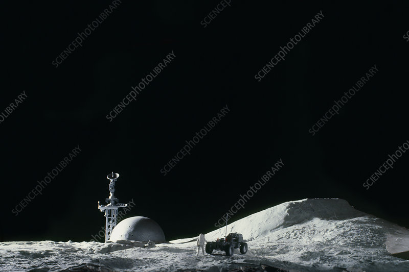 Artist's impression of a manned moon base