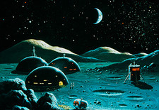 Artwork of a lunar base