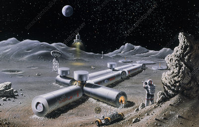 Artist's impression of a manned lunar base