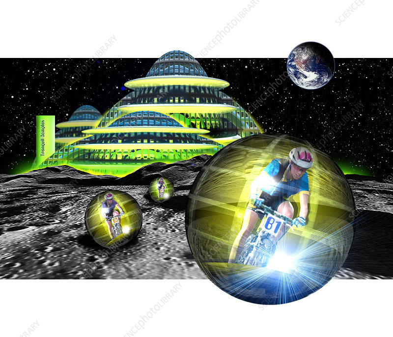 Computer artwork of men cycling from a Moon base