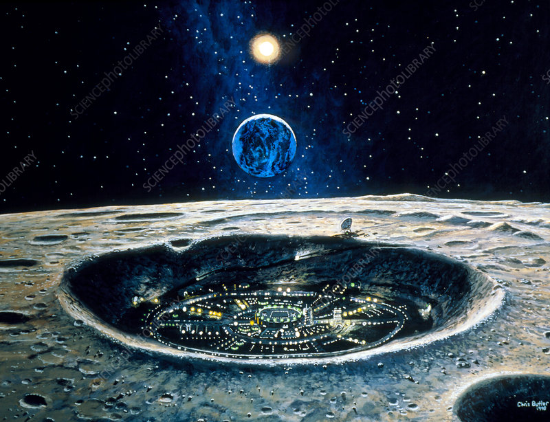 Artwork of a city in a crater on the Moon