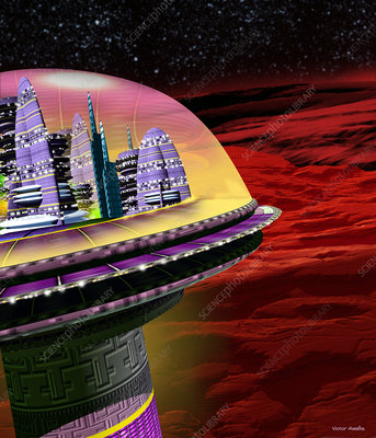 Art of domed city on Mars