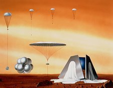 Artwork of Mars Pathfinder landing on Mars