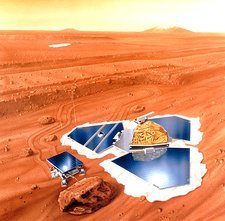 Artwork of Mars Pathfinder after landing on Mars