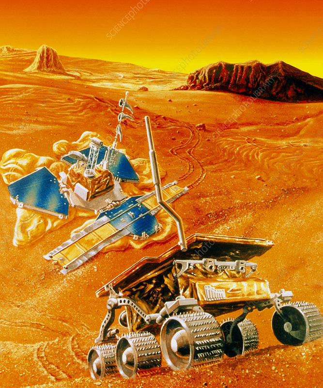 Artwork depicting MFEX rover on Mars