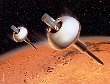 Artwork of Mars 96 penetrators approaching Mars