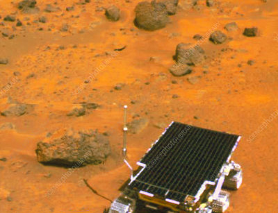 Sojourner robotic vehicle on the surface of Mars