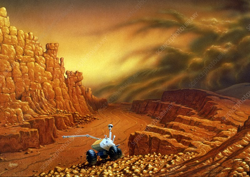 Artwork of a rover machine exploring Mars' surface