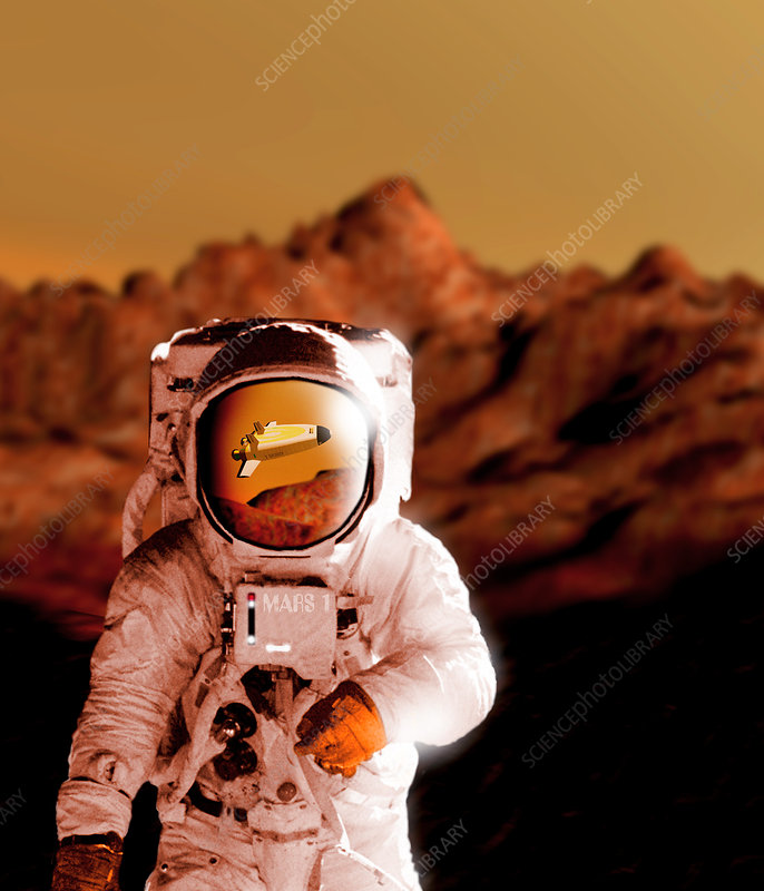 Computer artwork of an astronaut on Mars' surface