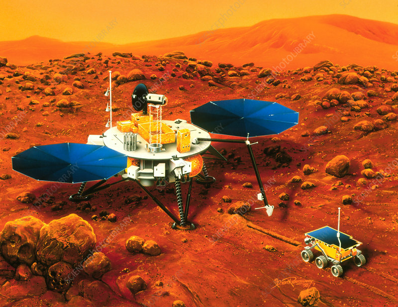 Artwork of Mars Surveyor 2001 Lander on Mars
