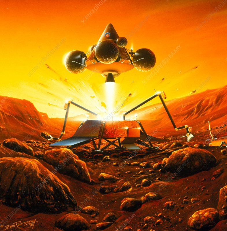 Artwork of Mars Sample Return mission leaving Mars