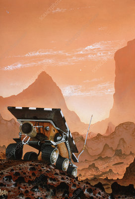 Artwork of the Sojourner rover on Mars' surface