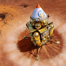 Spacecraft lands on Mars, artwork