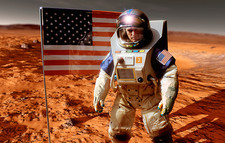 Astronaut on Mars with US flag, artwork