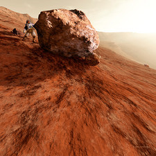 Astronaut on Mars next to rock, artwork