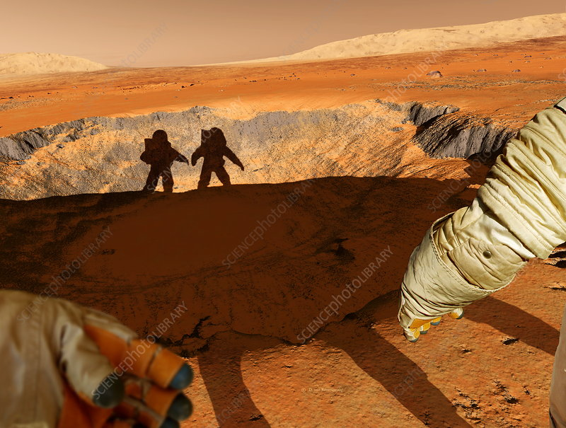 Two astronauts on Mars, artwork