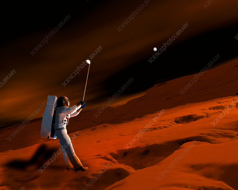 Astronaut playing golf on Mars