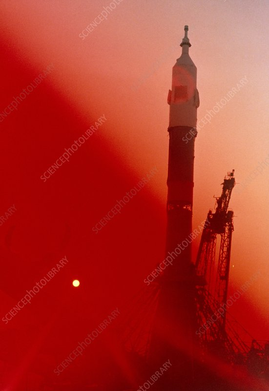 Soviet spacecrat Vostok 6 on launchpad.