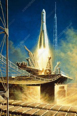 Painting showing launch of Vostock 1