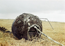 Vostok 1 spacecraft after landing, 1961