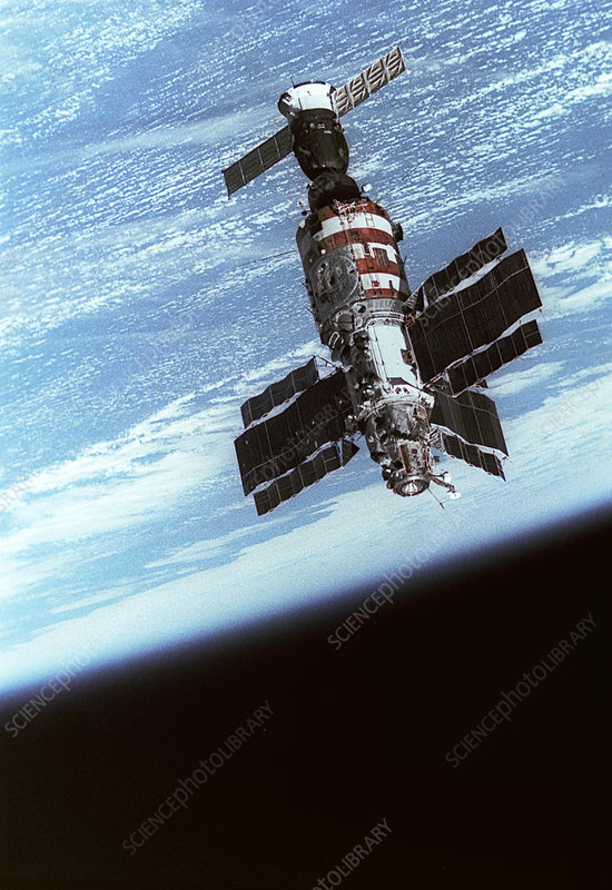 Salyut 7 space station in orbit