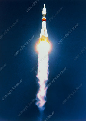 Launch of Soyuz-TM 18 mission to Mir space station