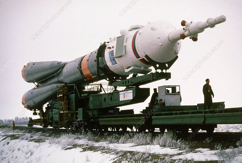 Soyuz SL-4 rocket being taken to the launch pad