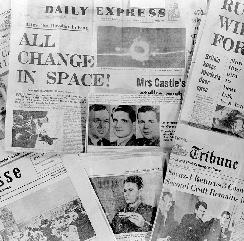 Soyuz docking mission, news reports, 1969