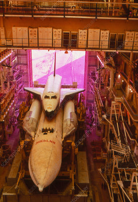 Soviet space shuttle, Buran, on launchpad.