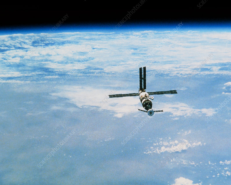 Mir space station in orbit seen from Soyuz