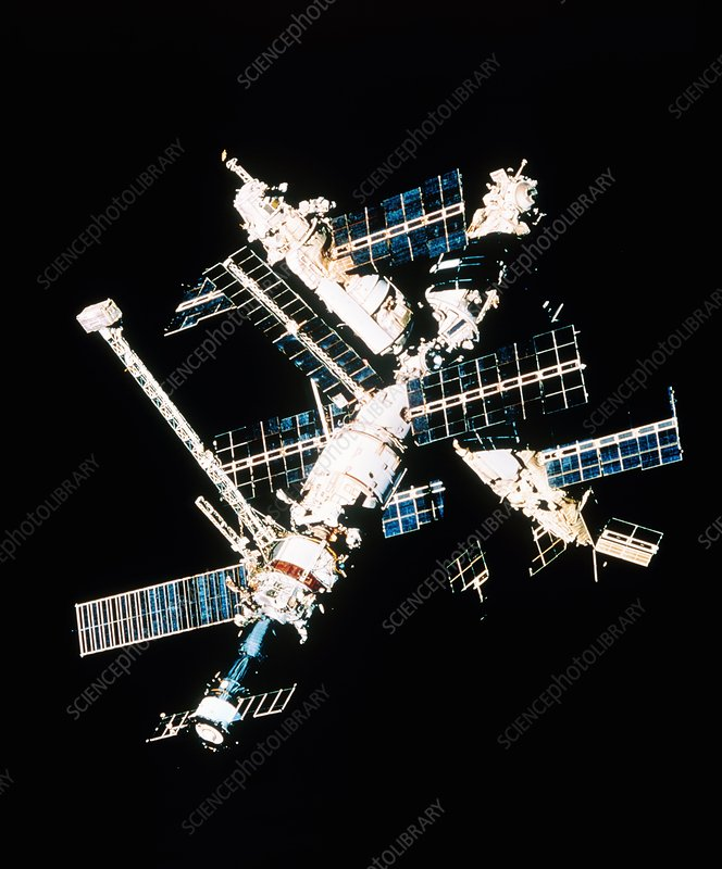 Caption: Mir space station. View of the Russian space station Mir in orbit.