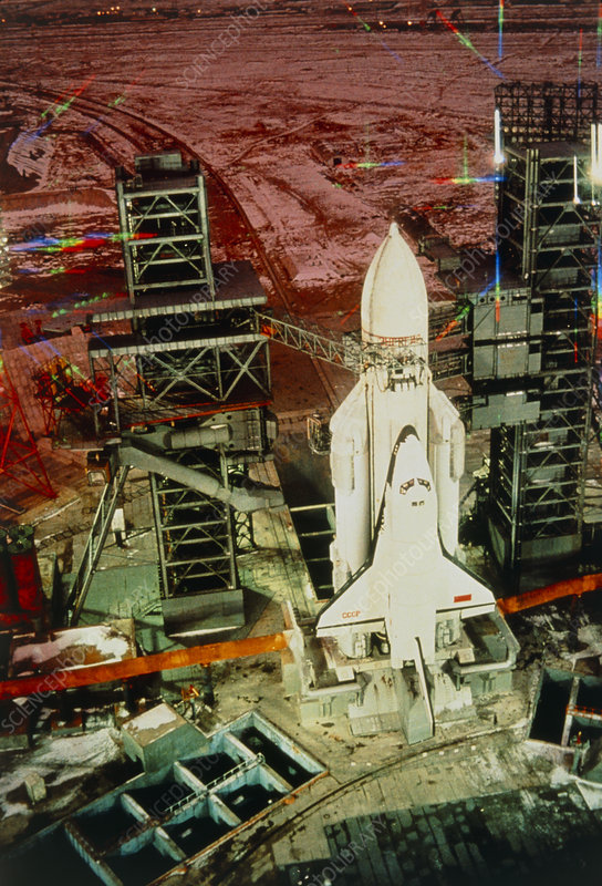 Russian shuttle Buran on launch pad at night